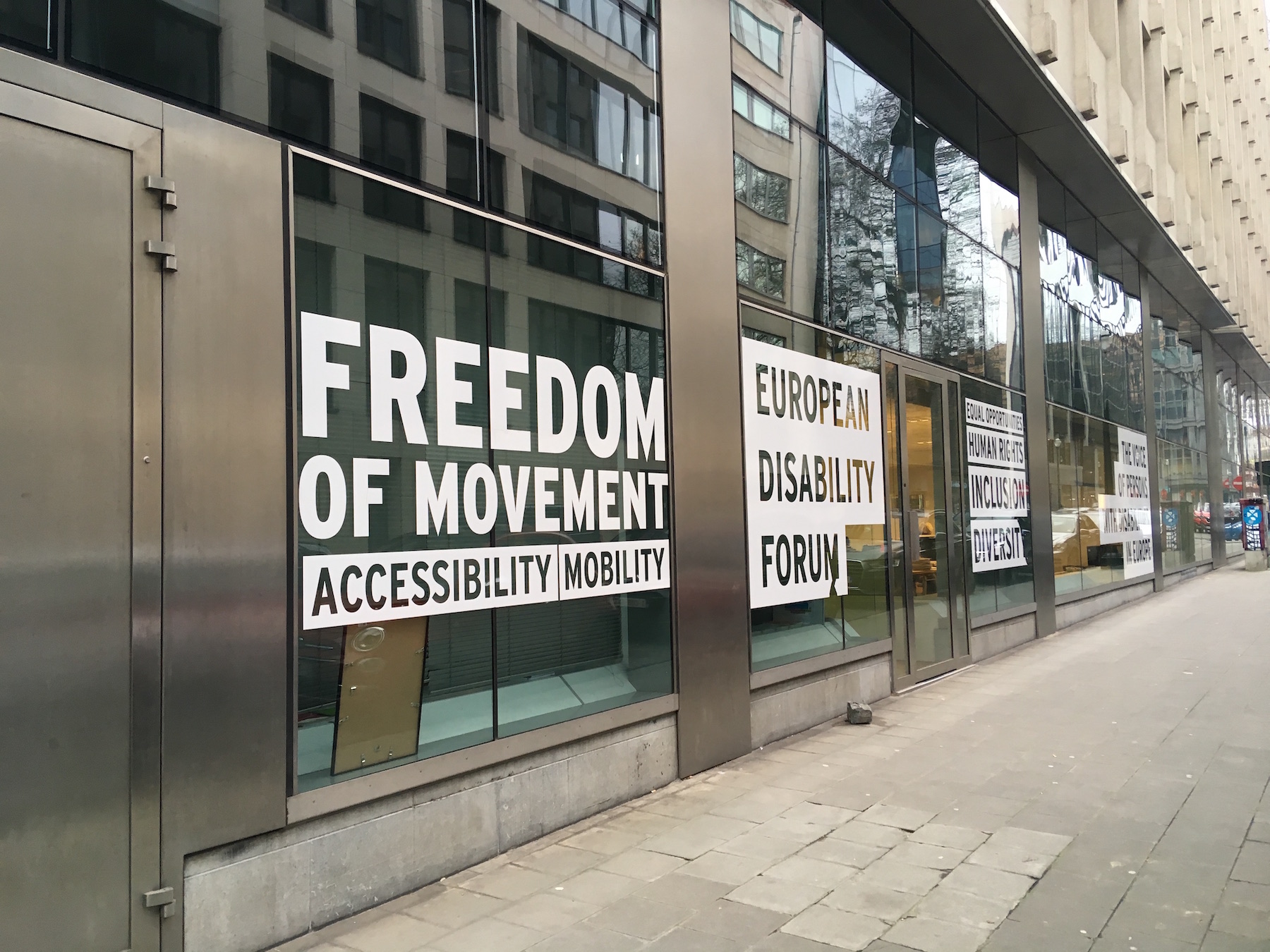 "Picture of the window of EDF with the statement ""Freedom of movement"" on the window"