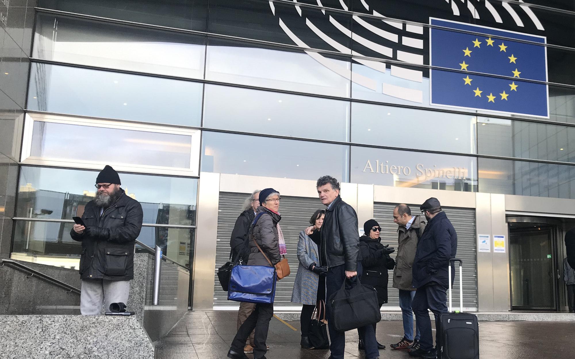 The EDA board outside the EU parliament