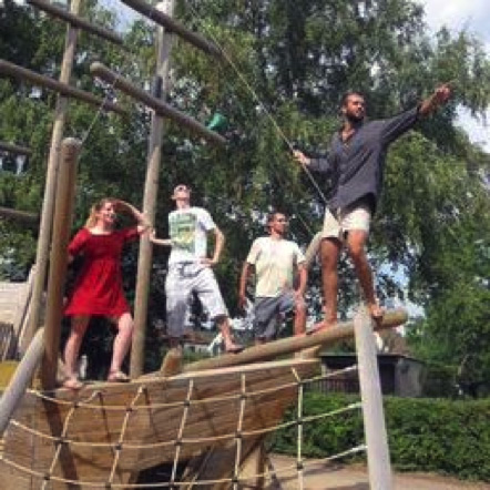 Picture of team playing on a playground boat